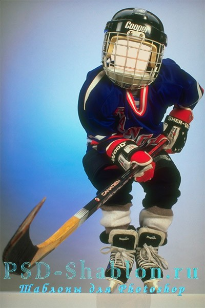 Детский шаблон для Фотошоп Хоккеист