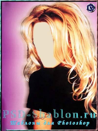 Женский шаблон для фотошопа с блондинкой