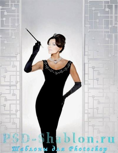 Бесплатный шаблон для Photoshop Девушка в вечернем платье