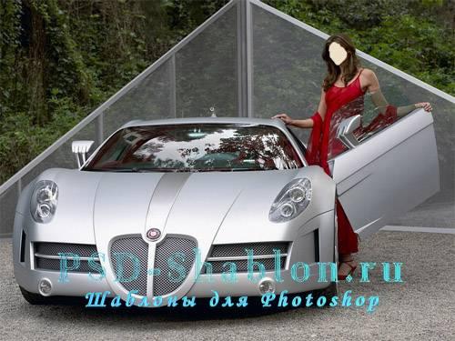 Фотошаблон девушка у серебристой машины