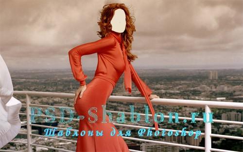 Шаблон для Photoshop девушка в красном на крыше