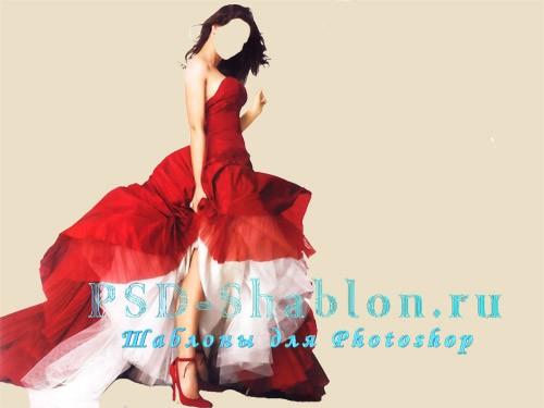Костюм для фотошопа Девушка в красном пышном платье