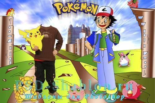 Детский шаблон для Photoshop Pokemon Покемон