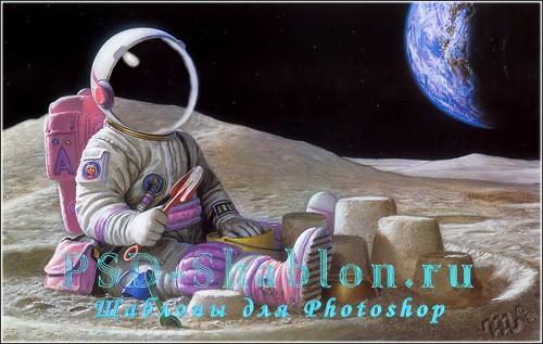 Шаблон для фотомонтажа Девочка - космонавт