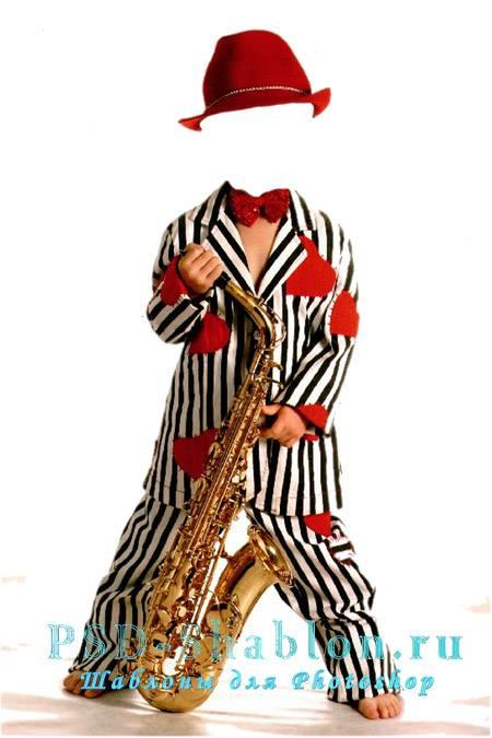 Детский шаблон для фотомонтажа Мальчик - саксофонист