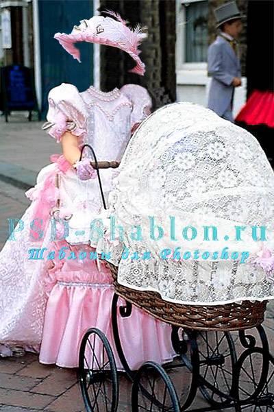 PSD шаблон Девочка с коляской