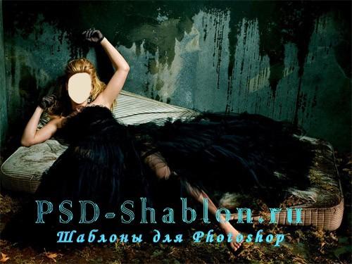 Женский PSD исходник для фотошопа Блондинка в черном