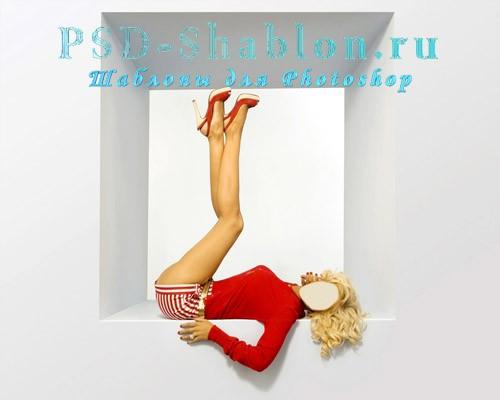 Шаблон для Photoshop Блондинка в красном