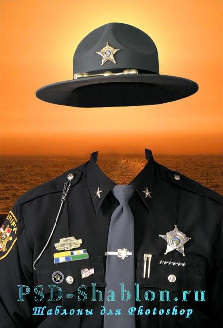 Мужской шаблон для фотошопа - Шериф