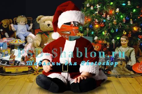 Рождественский PSD костюм Маленький Санта-Клаус