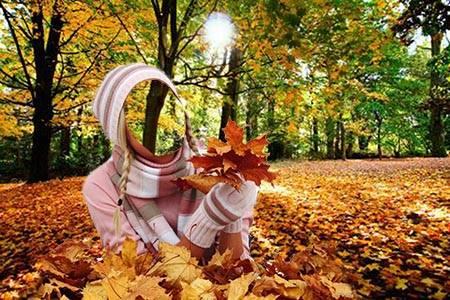 Женский фотошаблон - На ковре из желтых листьев