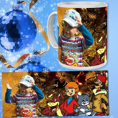 Шаблон для кружки - Новый год в Простоквашино