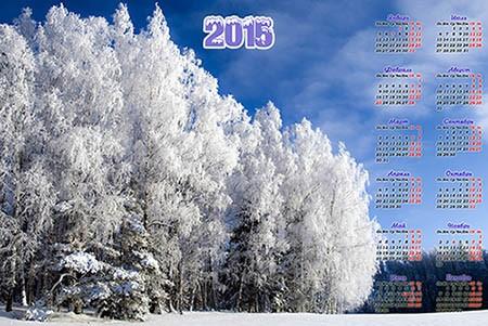 Календарь на 2015 год - Заснеженый лес