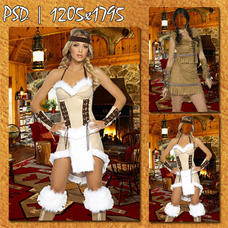 Женщина в костюме индейца в современном вигваме