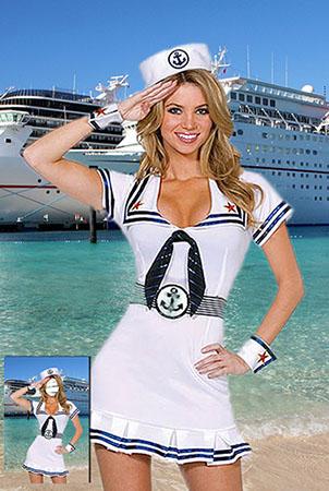 Женский фотошаблон - Очаровательная морячка