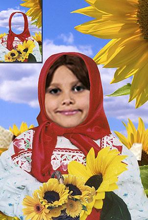 Детский фотошаблон - Аленка в подсолнечниках