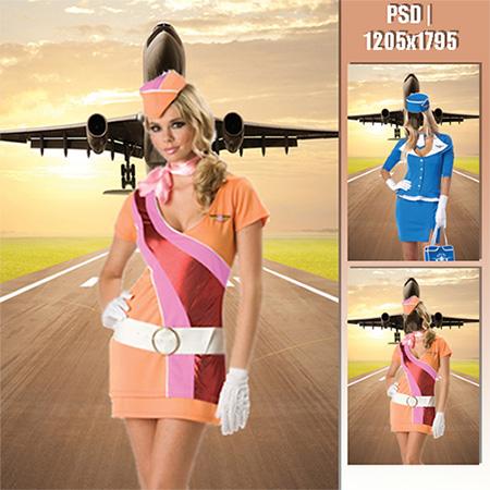 Женский фотошаблон - Стюардесса на взлетной полосе