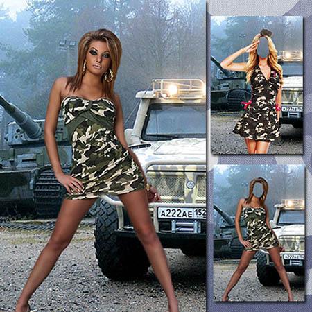 Женский фотошаблон - В платье цвета хаки