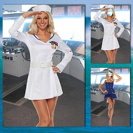 Женский фотошаблон - Капитан дальнего плаванья