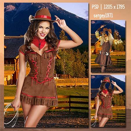 Женский фотошаблон - Красивая ковбойша на ранчо