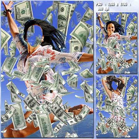 Женский фотошаблон - Счастливый прыжок в благополучие
