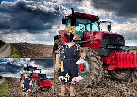 Детский фотошаблон psd - Маленький фермер в поле