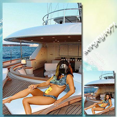 Женский фотошаблон - На морской прогулке