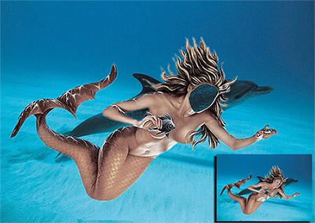 Женский фотошаблон - Дельфин и русалка