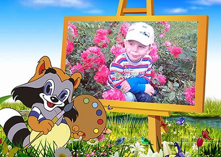 Детская фоторамка - На картине енота