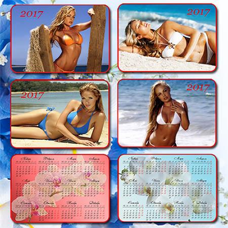 Набор карманных календарей на 2017 год - Красивые девушки в купальниках