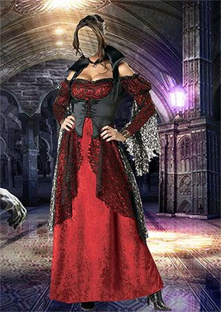 Женский фотошаблон - Вампирша в замке