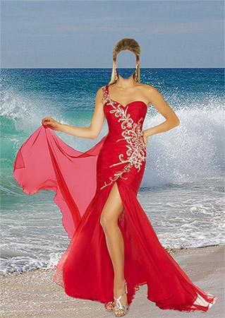 Женский фотошаблон - В красном платье на фоне морской волны
