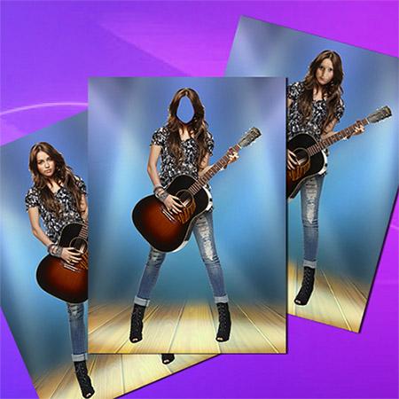 Женский фотошаблон - Девушка с гитарой