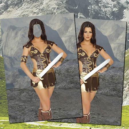 Фотошаблон - В костюме амазонки
