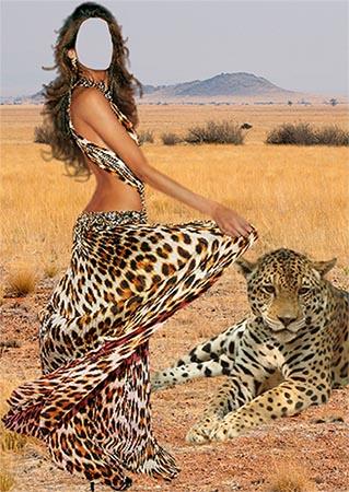 Фотошаблон - Девушка с леопардом