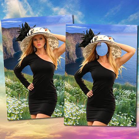 Женский фотошаблон - Девушка в шляпе