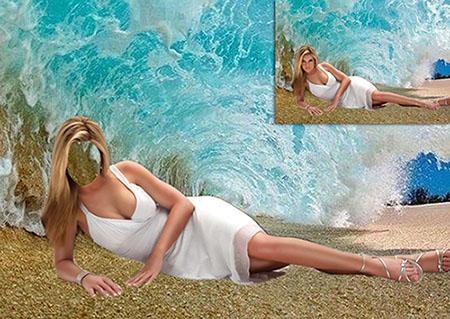 Женский фотошаблон - Фото под морской волной