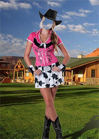 Женский фотошаблон - В шляпе ковбоя