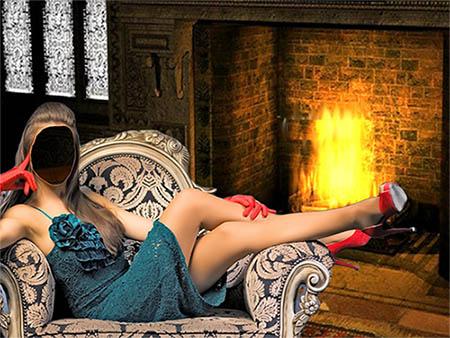 Женский фотошаблон - В замке возле камина