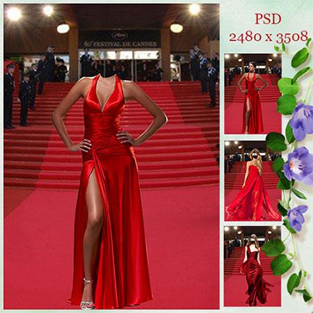 Женский фотошаблон - В красном платье на красной дорожке