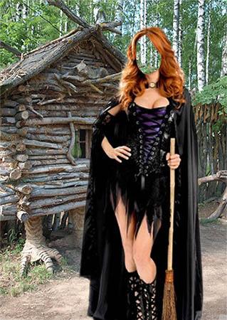 Женский фотошаблон - Ведьма