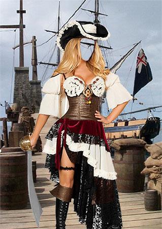 Женский фотошаблон - Девушка в костюме пирата
