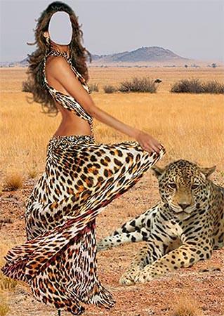 Девушка и леопард - Шаблон для фотошопа
