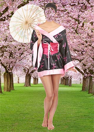 Фотошаблон psd - Девушка в кимоно