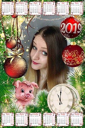 Календарь для фотошопа на 2019 год - В ожидании Нового года