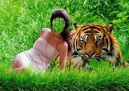 Женский костюм для фотомонтажа - Девушка с тигром