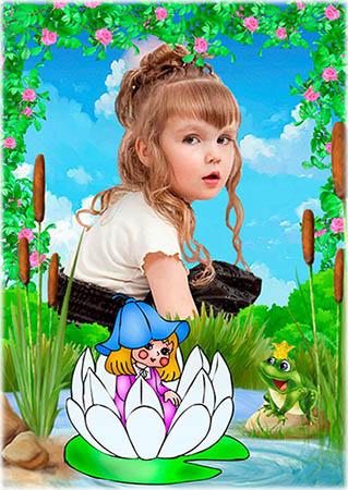 Дюймовочка - Детская рамка для фотошопа