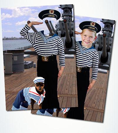 Детский фотошаблон мальчика в морской форме