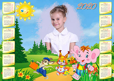 Детский календарь на 2020 год - зверюшки идут в школу