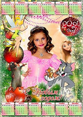 Настенный календарь на 2020 год - Диснеевские мультяшки в гостях у крысы